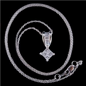 "14k White Gold Princess Cut Invisible Set Diamond Pendant W/ 18"" Chain .80ctw"