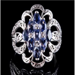 10k White Gold Marquise Cut Iolite Cluster Cocktail Ring 1.71ctw