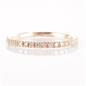 14k Yellow Gold Round Cut French Set Diamond Wedding / Anniversary Band .11ctw