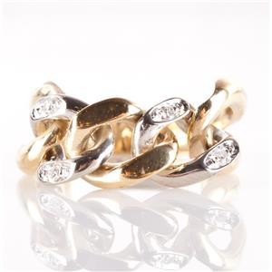 14k Yellow & White Gold Two-Tone Single Cut Diamond Chain Style Ring .08ctw