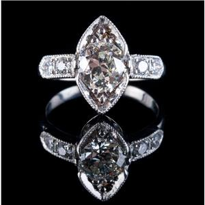 Vintage 1920's Platinum Diamond Solitaire Engagement Ring W/ Accents 1.41ctw