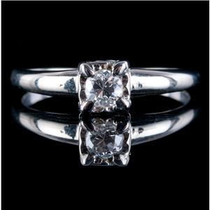 Vintage 1940's 14k White Gold Round Cut Diamond Solitaire Engagement Ring .21ct