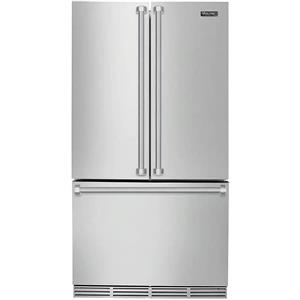 "Viking 3 Series 36"" LED Door Open Alarm SS French Door Refrigerator RVRF336SS"