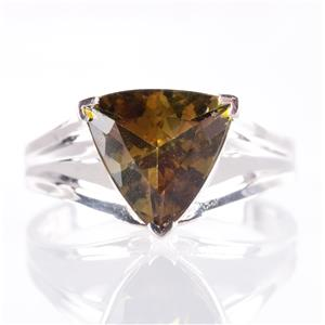 10k White Gold Trillion Cut Bi-Color Tourmaline Solitaire Ring 2.88ct