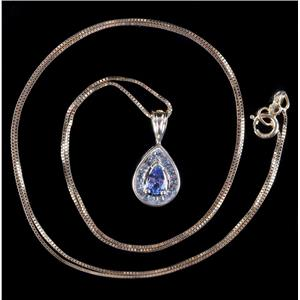 "14k Yellow Gold Pear Cut Tanzanite & Diamond Halo Pendant W/ 18"" Chain .33ctw"