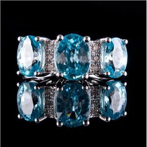 10k White Gold Oval Cut Blue Zircon & Diamond Cocktail Ring 4.45ctw