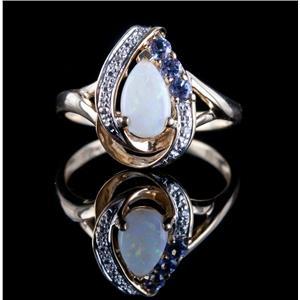 10k Yellow Gold Pear Cabochon Cut Opal / Tanzanite / Diamond Ring .75ctw