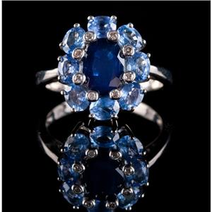 14k White Gold Oval Cut Sapphire & Round Cut Diamond Halo Cocktail Ring 4.03ctw