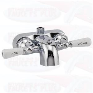 Chrome Clawfoot  Add-A-Shower Bathcock Diverter Faucet - Porcelain Lever Handles