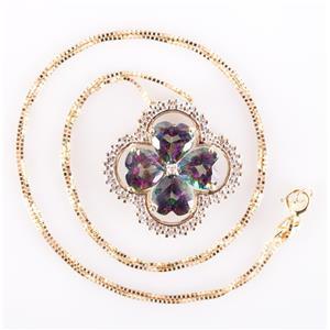 "10k Yellow Gold Mystic Topaz & Diamond Clover Pendant W/ 18"" Chain 3.075ctw"