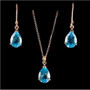 10k Yellow Gold Blue Topaz & Diamond Solitaire Necklace / Earring Set 6.05ctw