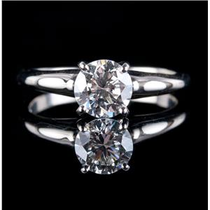 14k White Gold Round Cut Diamond Solitaire Engagement Ring .89ct