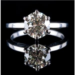 14k White Gold Round Cut Diamond Solitaire Engagement Ring 1.60ct