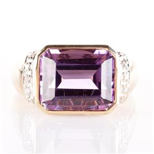 10k Yellow Gold Amethyst Solitaire Cocktail Ring W/ Diamond Accents 5.95ctw