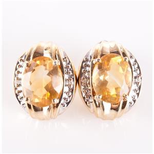 10k Yellow Gold Oval Cut Citrine & Round Cut Diamond Stud Earrings 2.49ctw
