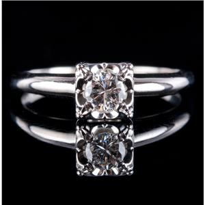 Vintage 1940's 14k White Gold Round Cut Diamond Solitaire Engagement Ring .27ct