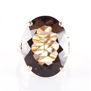 Vintage 1960's 14k Yellow Gold Oval Cut Smokey Quartz Solitaire Ring 16.5ct