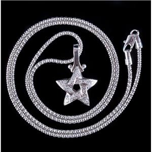 "14k White Gold Round Cut Diamond Star Pendant W/ 20"" Chain .39ctw"