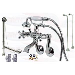 Chrome Tub Mount Clawfoot Bathtub Filler Faucet Kit W/Hand Shower - KBFP - CCK269C