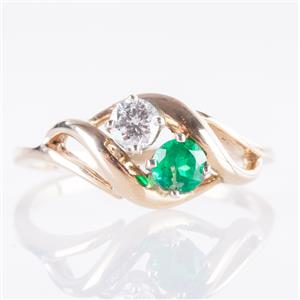 14k Yellow Gold Round Cut Lab Emerald & Diamond Two-Stone Ring .30ctw