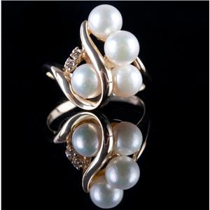 14k Yellow Gold Round Cut Cultured Pearl & Diamond Cocktail Ring .03ctw