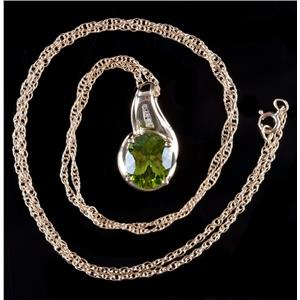 10k Yellow Gold Oval Cut Peridot Solitaire Necklace W/ Diamond Accents 2.79ctw