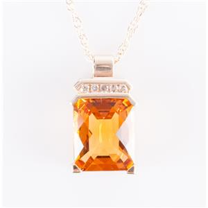 10k Yellow Gold Cushion Checkerboard Cut Citrine & Diamond Necklace 5.025ctw