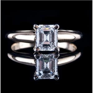 "14k Yellow Gold Emerald Cut ""D"" Diamond Solitaire Engagement Ring 1.04ct"