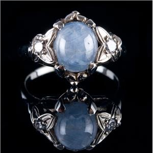 Vintage 1920's 18k White Gold Star Sapphire Solitaire Ring W/ Diamonds 6.08ctw