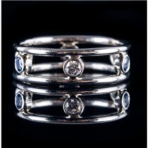 14k White Gold Round Cut Diamond & Sapphire Eternity Style Band / Ring .42ctw