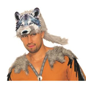 Wolf Hat 3D Screen Print Realistic Look Soft Face Hat Fun Fur Adult Or Child