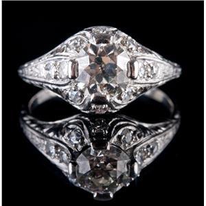 Vintage 1920's Platinum Diamond Solitaire Engagement Ring W/ Accents 1.22ctw