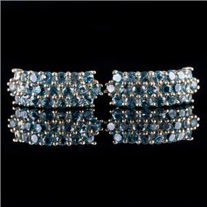 10k Yellow Gold Round Cut Blue Spinel Half Hoop Post Earrings .44ctw