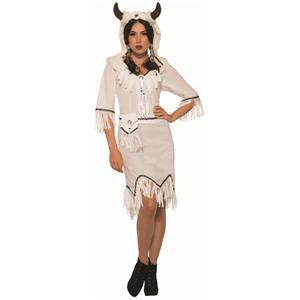 White Buffalo Spirit Native American Warrior Adult Womens Costume