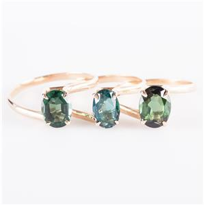 14k Yellow Gold Oval Cut Tourmaline Stackable Three Band Ring Set 4.14ctw