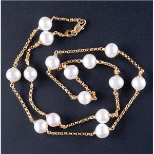 "14k Yellow Gold Off Round Cultured Freshwater Pearl Chain Necklace 20"" Length"