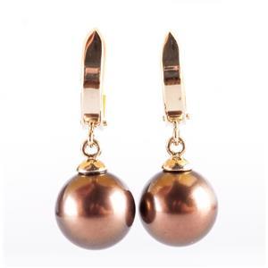14k Yellow Gold Round Cultured Brown Tahitian Pearl Dangle Earrings