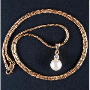 "14k Yellow Gold Freshwater Cultured Pearl & Diamond Pendant W/ 20"" Chain .16ct"