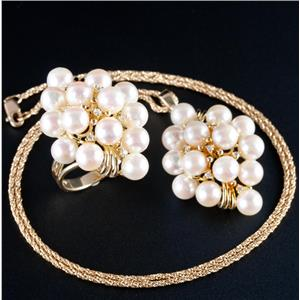 14k Yellow Gold Freshwater Cultured Pearl & Diamond Ring / Necklace Set .24ctw