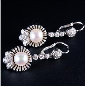 18k White Gold Freshwater Cultured Pearl & Diamond Dangle Earrings .52ctw