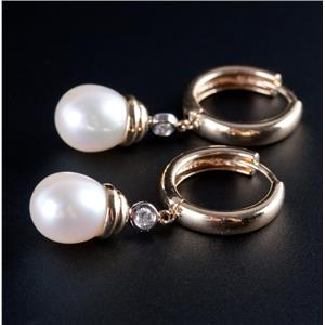 14k Yellow Gold Freshwater Cultured Pearl & Diamond Huggie Dangle Earrings .12ct