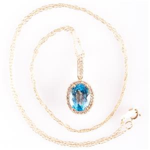 "14k Yellow Gold Swiss Blue Topaz & Diamond Halo Pendant W/ 18"" Chain 2.74ctw"