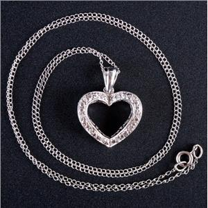 "10k White Gold Round Cut Diamond Heart Pendant W/ 16"" Chain .05ctw"