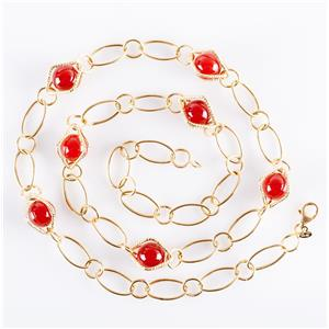"14k Yellow Gold Round Bead Cut Carnelian Necklace / Earring Set 22"" Length 19.4g"