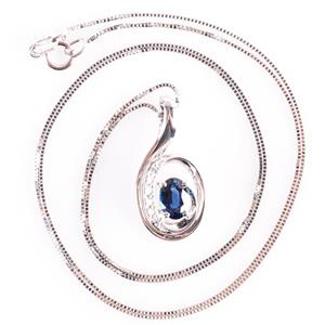 14k White Gold Oval Cut Sapphire Solitaire Necklace W/ Diamond Accents .78ctw