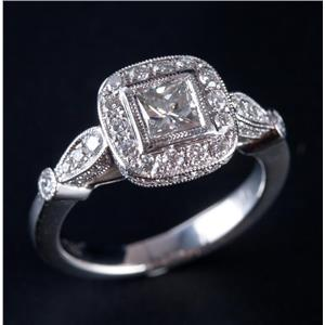Stunning Platinum Princess & Round Cut Diamond Halo Engagement Ring 1.24ctw