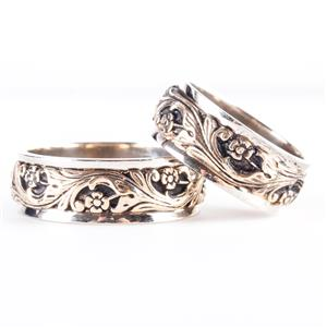 14k White & Yellow Gold Etched Floral / Leaf Design Matching Wedding Bands 17.0g