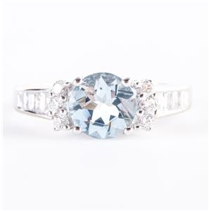 14k White Gold Round Cut Aquamarine & Baguette Cut Diamond Ring 1.70ctw