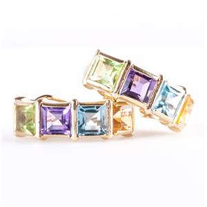14k Yellow Gold Citrine / Amethyst / Topaz / Peridot Huggie Earrings 2.58ctw