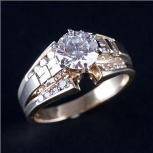 14k Yellow Gold Round Cut Diamond Solitaire Engagement Ring W/ Accents 1.66ctw